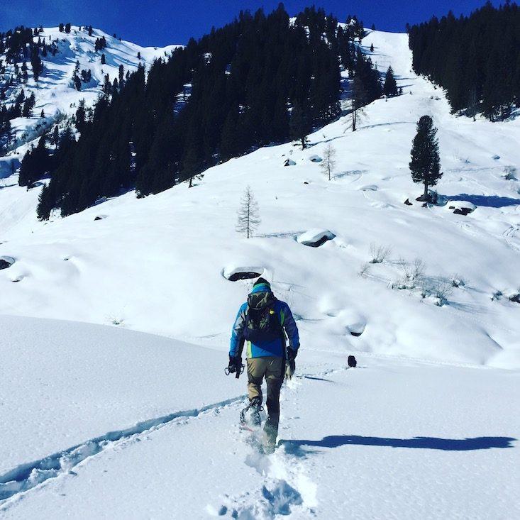 Kelchsau Langer Grund Brixental Kitzbüheler Alen Schneeschuhe Hund Wintercamping