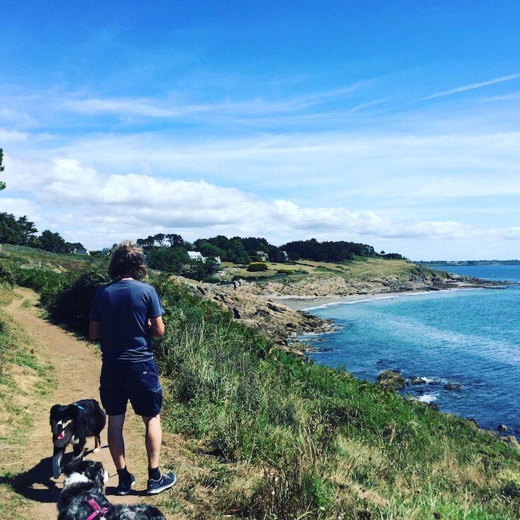 Bretagne Frankreich Wandern Hund Camping