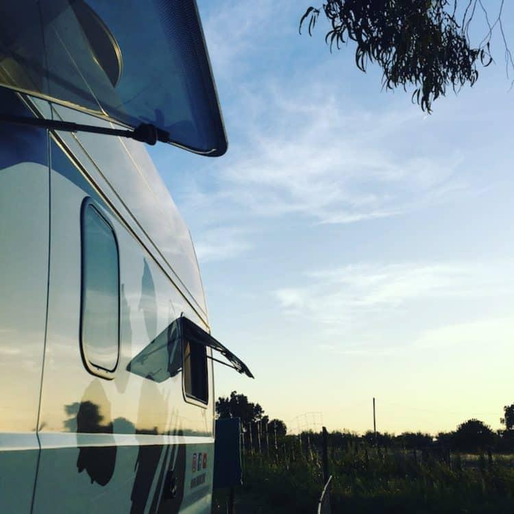 Camping Südfrankreich Kastenwagen Wohnmobil Hund Eukalyptus Stellplatz