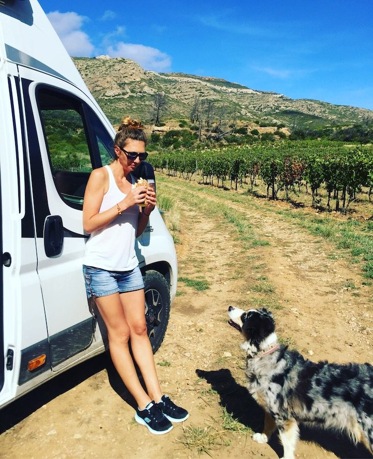 Camping mit Hund Frankreich Kastenwagen Wohnmobil Australian Shepherd