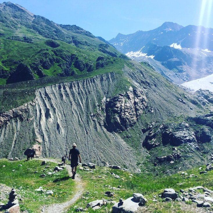 Gepatschferner Gletscher wandern Hund camping Wanderung