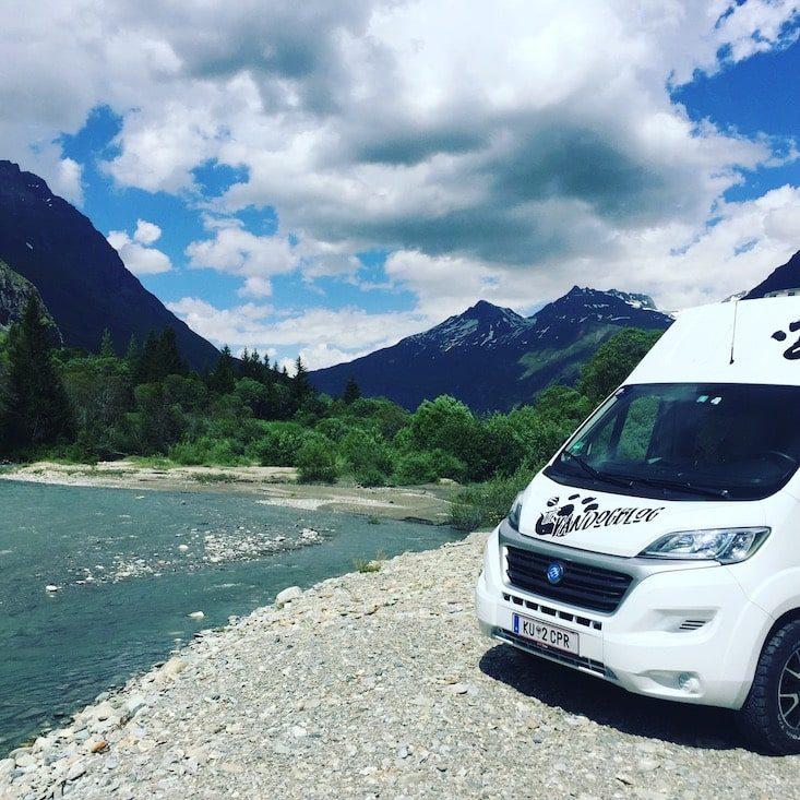 Val Cenis Camping am Fluss Wildcamping freistehen hund urlaub Kastenwagen Campingbus Frankreich