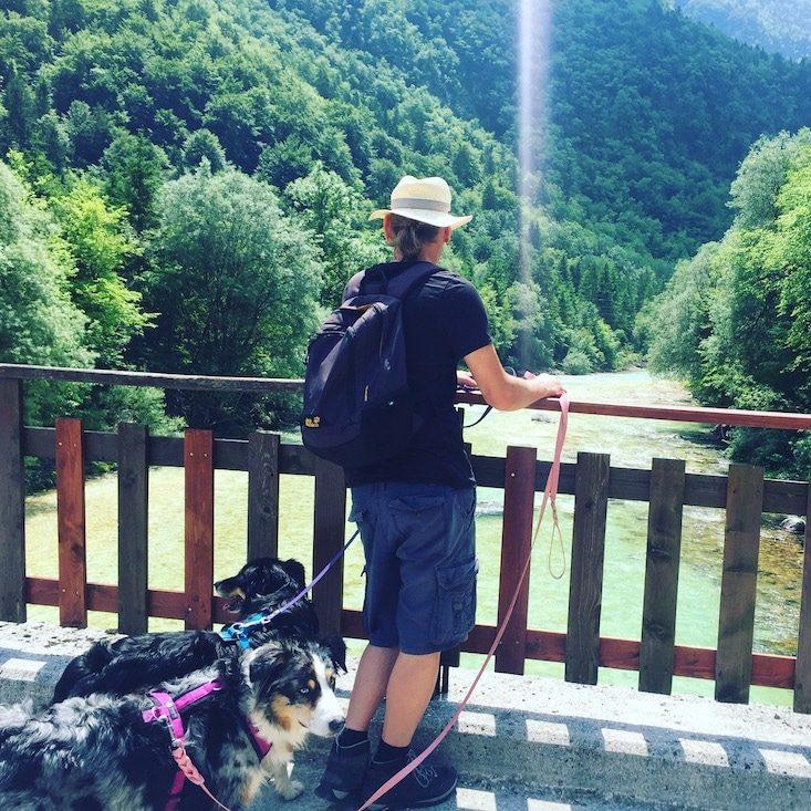 Wandern mit Hund Soca Slowenien Camping Weitwandern Soska Pot
