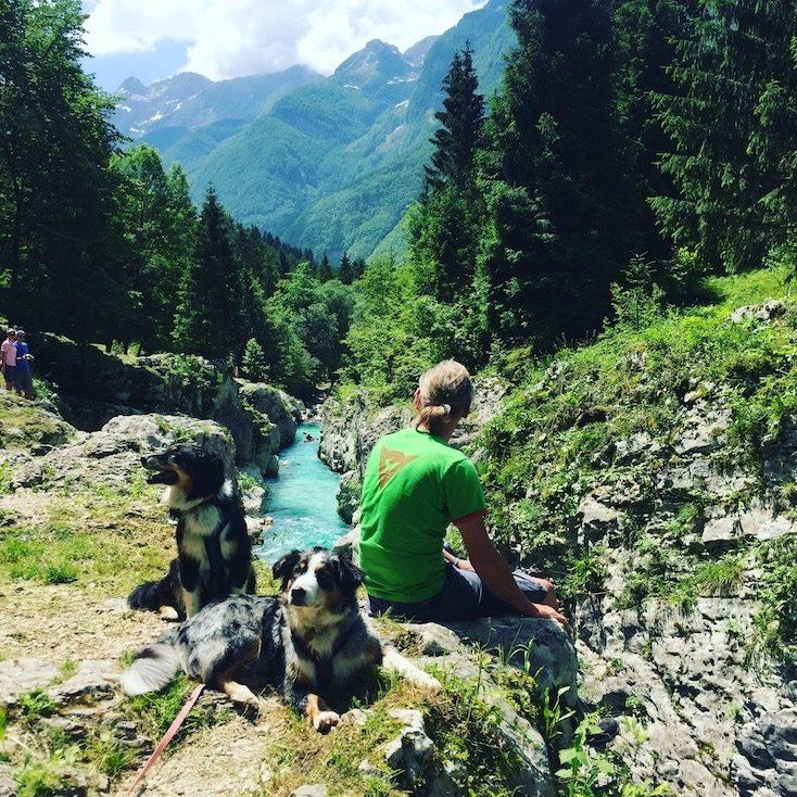 Soca Tal Wandern mit Hund Camping Soska Pot Slowenien Triglav Nationalpark