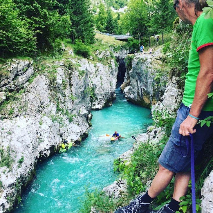 Wassersport Slowenien Triglav wandern mit Hund Kayak