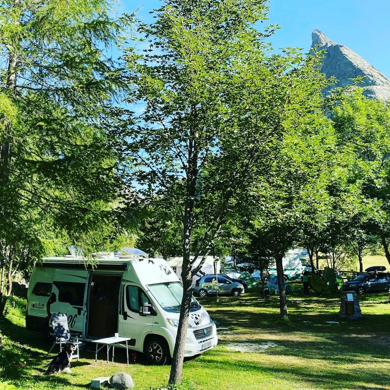 Valle Maira Rifugio Campo Base Camping mit Hund Knaus Kastenwagen Boxstar Piemont