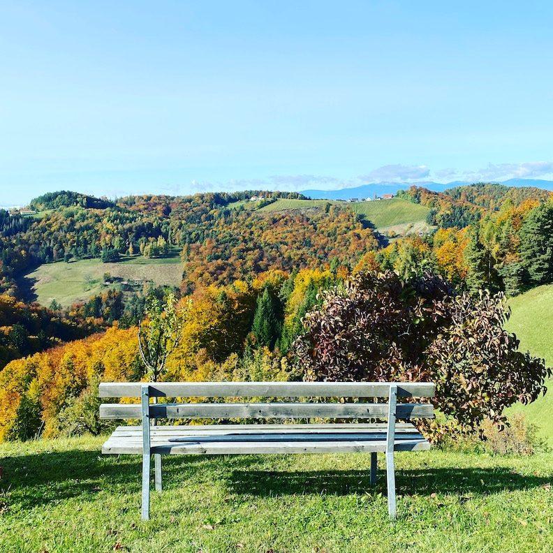 Südsteiermark Steiermark Österreich Aussicht genießen Weinstraße weiterwandern Wanderung Herbst